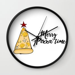 Merry Pizza Christmas time Wall Clock