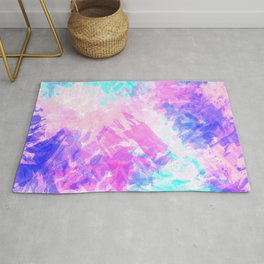 Girly Artsy Purple Pink Abstract Paint Pattern Rug