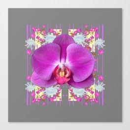 PURPLE BUTTERFLY ORCHID WHITE MUMS Flowers Garden GREY Art Canvas Print
