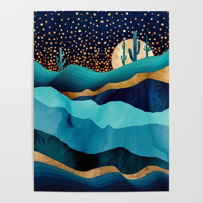 Indigo Desert Night Poster