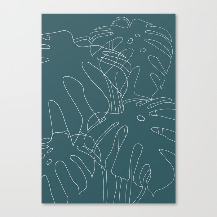 Monstera No2 Teal Canvas Print