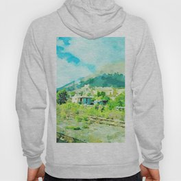 Travel by train from Teramo to Rome: mountain landscape with village from the train window Hoody