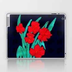 Red flowers gladiolus art nouveau style Laptop & iPad Skin