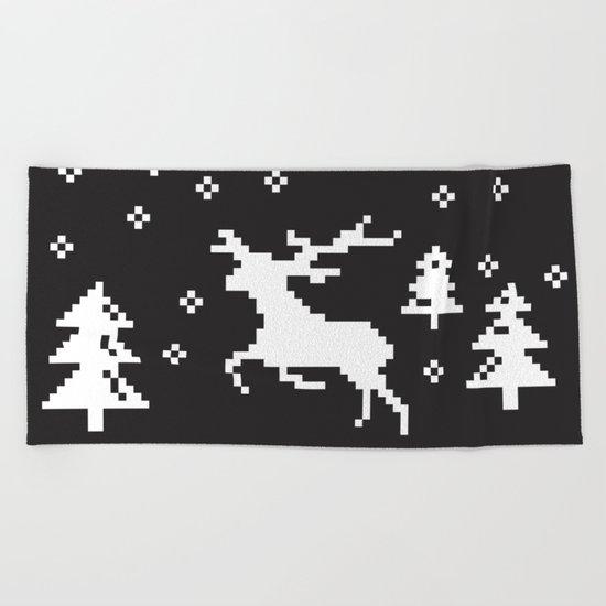 CHRISTMAS DEER Beach Towel