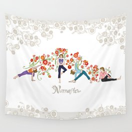 Yoga Girls_Namaste_Poses and Flowers Large scale Wall Tapestry