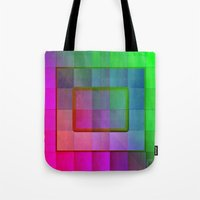 aperture Tote Bags featuring Aperture #1 Fractal Pleat Texture Colorful Design by CAP Artwork & Design