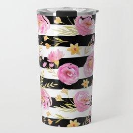 Delicate Poppy Pattern On Stripes 2 Travel Mug