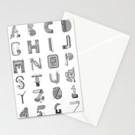 Machine Letters GREY Stationery Cards