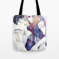 girl Tote Bags featuring wakeful by agnes-cecile