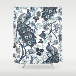 Blue Chinoiserie, peacocks, blue and white, chintz pattern Shower Curtain
