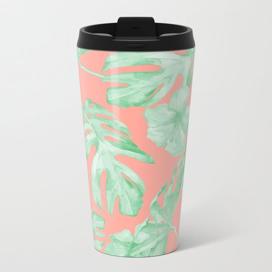Tropical Palm Leaves Hibiscus Flowers Coral Green Metal Travel Mug