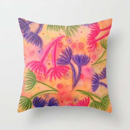 COW PARSLEY 3 - Happy Neon Pink Cherry Acid Green Nature Floral Abstract Watercolor Painting Pattern Throw Pillow