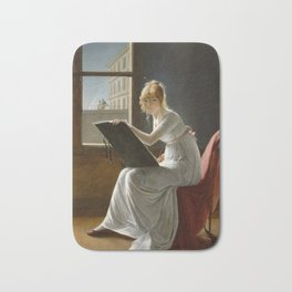 Young Woman Drawing - Marie Denise Villers Bath Mat