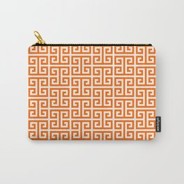 Orange and White Greek Key Pattern Carry-All Pouch