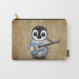 Baby Penguin Playing Nicaraguan Flag Acoustic Guitar Carry-All Pouch