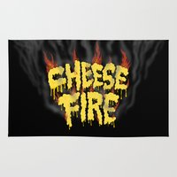 cheese Area & Throw Rugs featuring CHEESE FIRE!!! by Chris Piascik