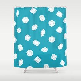 Blue Moissy Gem Pattern Shower Curtain