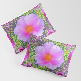 Yellow Pattern Pink Roses & Purple Orchids Abstract Pillow Sham