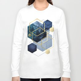 Geometric Compilation in Blue Long Sleeve T-shirt