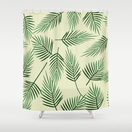 palm Leaves green light background Shower Curtain