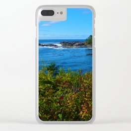 The Pacific Ocean as seen from the Wild Pacific Trail on Ucluelet, BC Clear iPhone Case