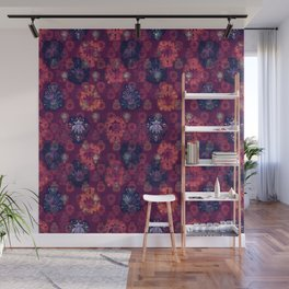 Lotus flower - fire on mulberry woodblock print style pattern Wall Mural