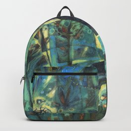 Dog in the garden. Backpack