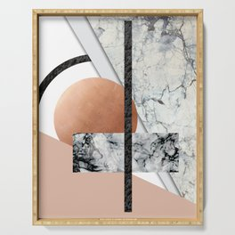 Collage II ( marble, copper, volcanic rock) Serving Tray