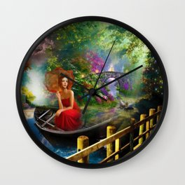 Looking on the other side of the lake surrealism digital art Wall Clock