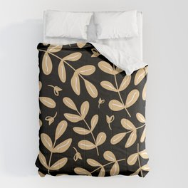 Contemporary Leaves Graphic Art Design Pattern On Black Comforters