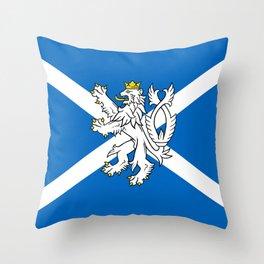 Blue and White Scottish Flag with White Lion Throw Pillow