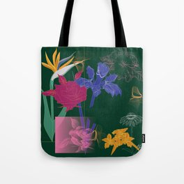 Dark Fall Flower Pattern for Home Goods Emerald Green Magenta Tote Bag