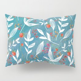 Fun Berry Pattern on turquoise background Pillow Sham