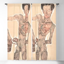 13,000px,500dpi-Egon Schiele - Nude Self-Portrait, Grimacing - Digital Remastered Edition Blackout Curtain
