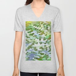 Foliage Abstract Pop Art In White Green and Powder Blue Unisex V-Neck