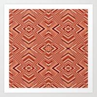 orange pattern Art Prints featuring Pattern orange by Christine baessler
