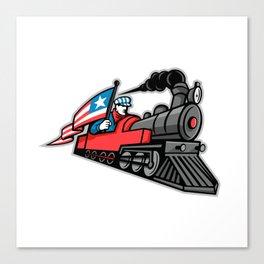 American Steam Locomotive Mascot Canvas Print