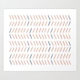 Chevron Pattern in Peach and Purple Art Print
