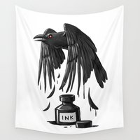 raven Wall Tapestries featuring Ink Raven by Freeminds