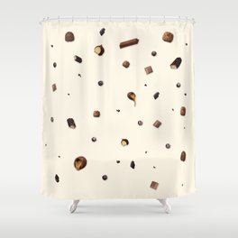 Falling chocolates with cream background Shower Curtain