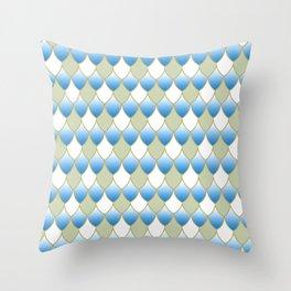 Squama Fhish Blue Pattern Throw Pillow