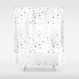 Dandelion Seeds Genderqueer Pride (white background) Shower Curtain