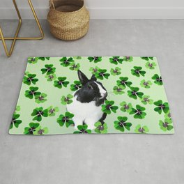 St. Patrick's Day Green Clover - Bunny Black and white  Rug
