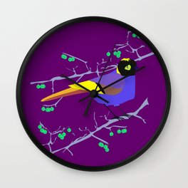Blue tit with black eye Wall Clock