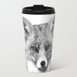Black and White Fox Travel Mug