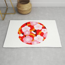Japanese Circle 2 Cherry Tree Sakura Rug