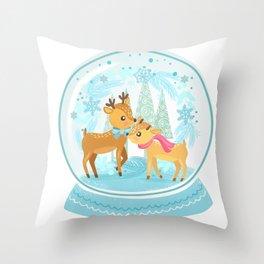 Winter Wonderland Reindeer Snow Globe Throw Pillow