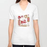 baseball V-neck T-shirts featuring Baseball by Jessica Giles