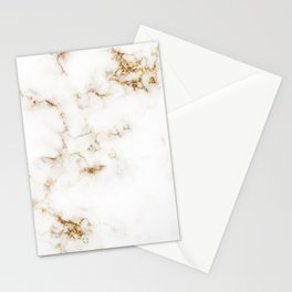 White Marble with Gold Accents Stationery Cards