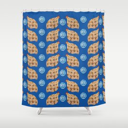 Gold guinea fowl pattern on blue Shower Curtain